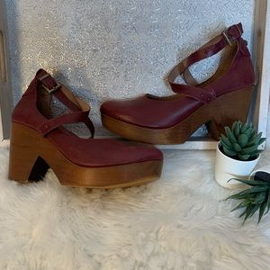 Free People Red Leather Wooden Platform Clogs